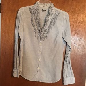 J Crew Button Down with ruffle detail